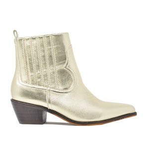 Women's Slip On Gold Stacked Heel Ankle Bootie